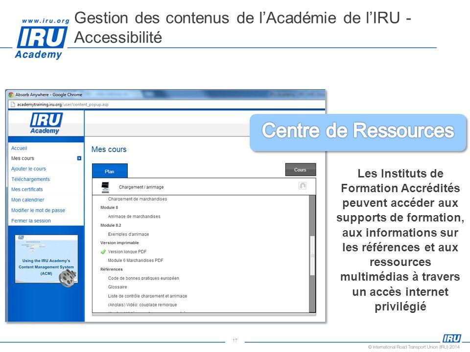 17 Gestion des contenus de lAcadémie de lIRU - Accessibilité Les Instituts de Formation Accrédités peuvent accéder aux supports de formation, aux info