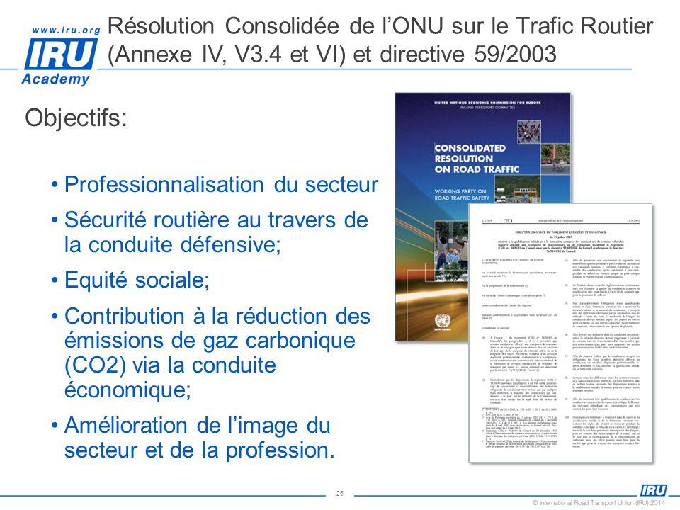 26 Objectifs: Professionnalisation du secteur Sécurité routière au travers de la conduite défensive; Equité sociale; Contribution à la réduction des é