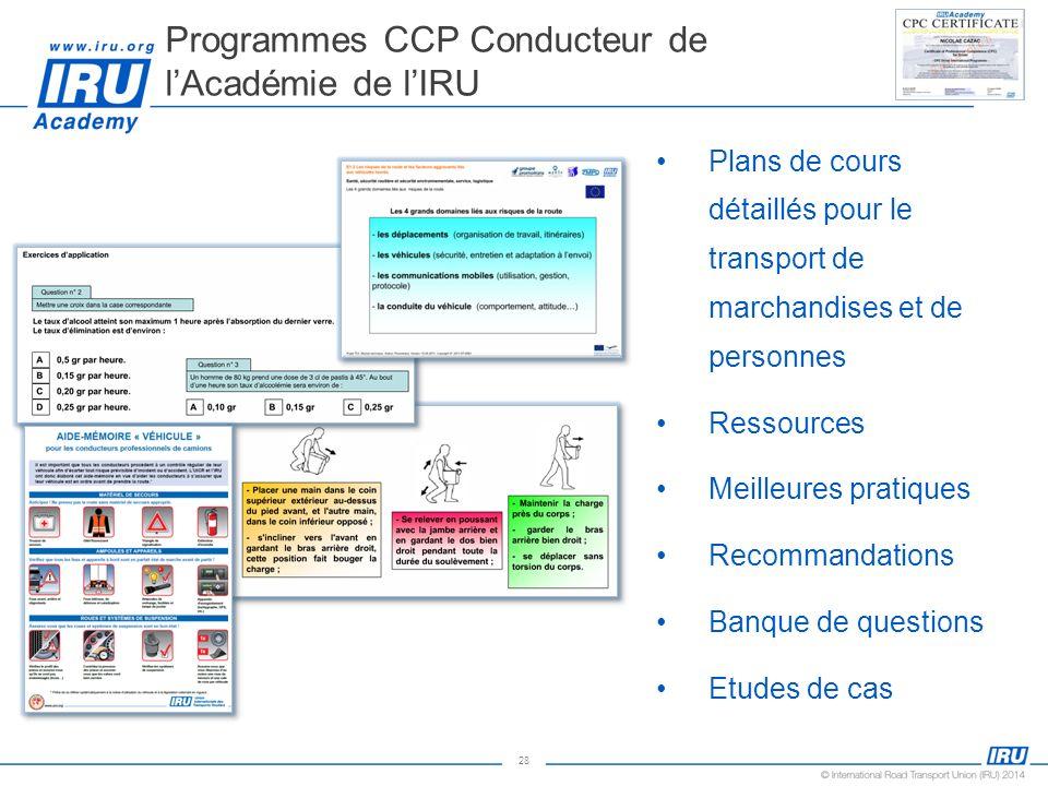 28 Plans de cours détaillés pour le transport de marchandises et de personnes Ressources Meilleures pratiques Recommandations Banque de questions Etud