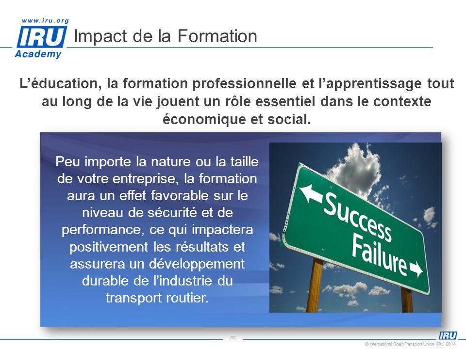 30 Impact de la Formation Peu importe la nature ou la taille de votre entreprise, la formation aura un effet favorable sur le niveau de sécurité et de
