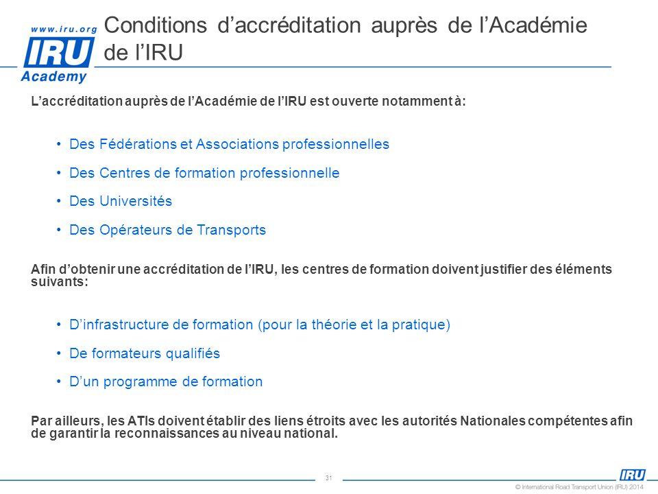 31 Laccréditation auprès de lAcadémie de lIRU est ouverte notamment à: Des Fédérations et Associations professionnelles Des Centres de formation profe