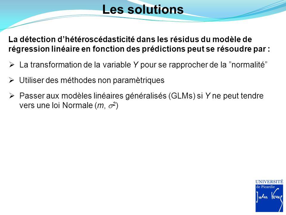 Les solutions La détection dhétéroscédasticité dans les résidus du modèle de régression linéaire en fonction des prédictions peut se résoudre par : La