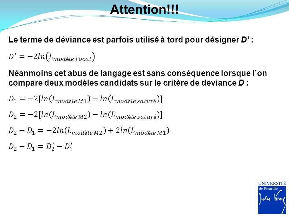 Attention!!! Le terme de déviance est parfois utilisé à tord pour désigner D : Néanmoins cet abus de langage est sans conséquence lorsque lon compare