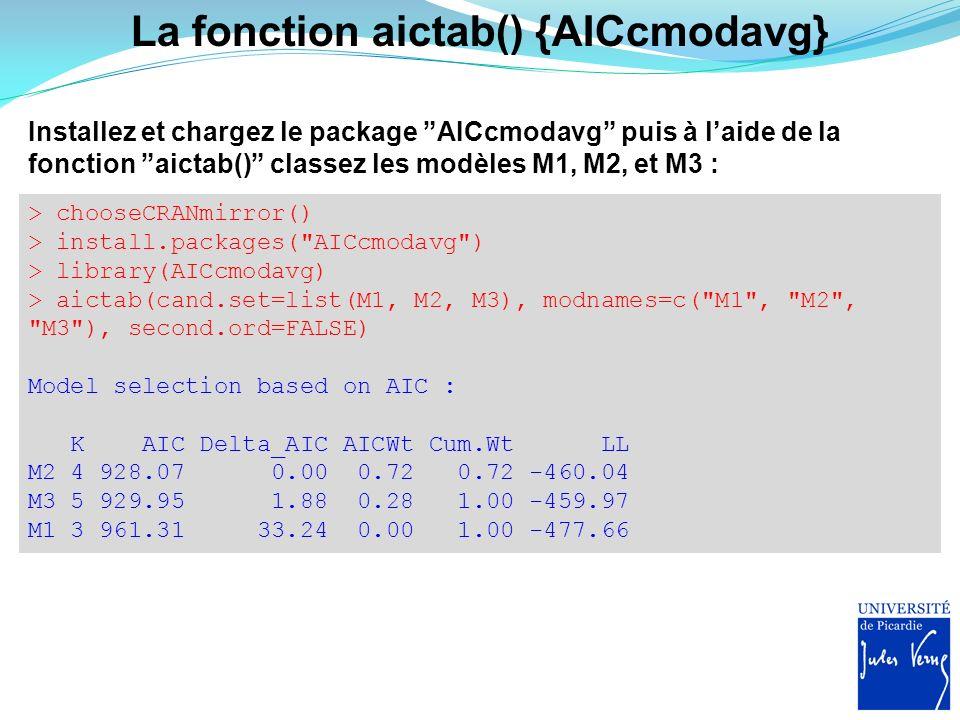 La fonction aictab() {AICcmodavg} Installez et chargez le package AICcmodavg puis à laide de la fonction aictab() classez les modèles M1, M2, et M3 :