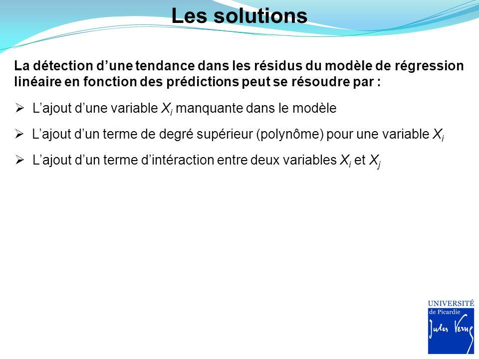 Les solutions La détection dune tendance dans les résidus du modèle de régression linéaire en fonction des prédictions peut se résoudre par : Lajout d