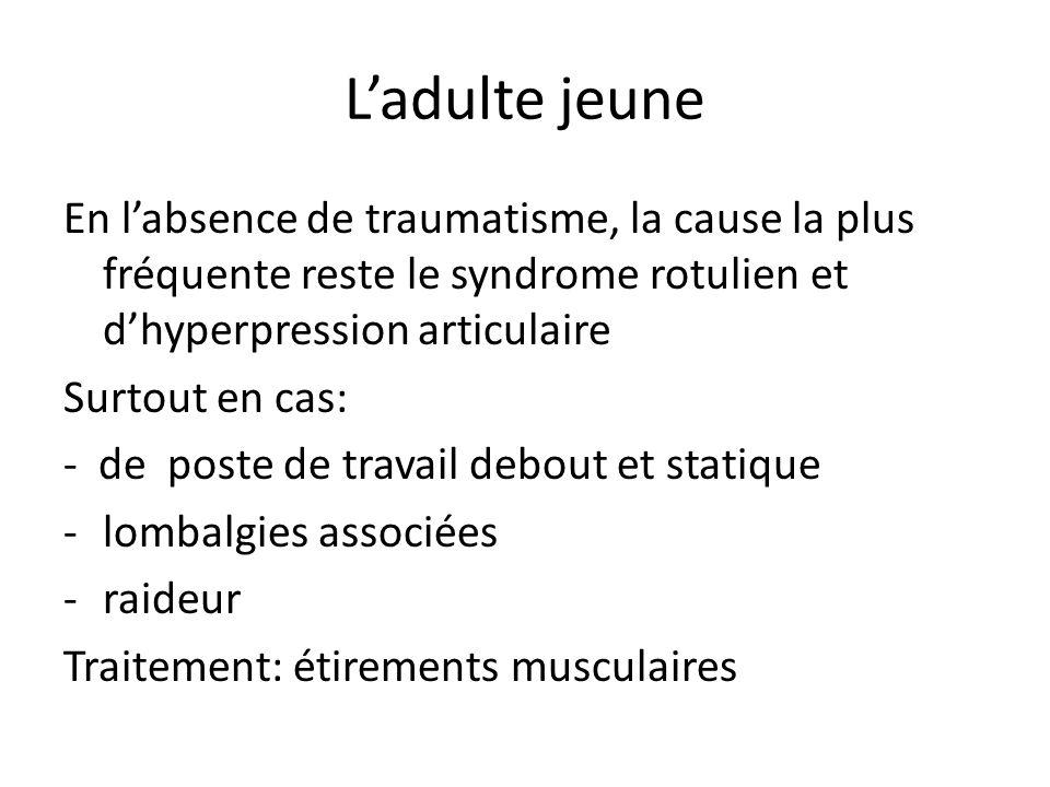 Ladulte jeune La lésion méniscale -nest pas la cause la plus fréquente -Rarement typique (le blocage) -Se méfier des IRM (faux positifs fréquents)