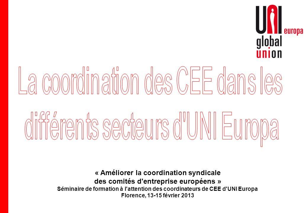 « Améliorer la coordination syndicale des comités d entreprise européens » Séminaire de formation à l attention des coordinateurs de CEE d UNI Europa Florence, 13-15 février 2013