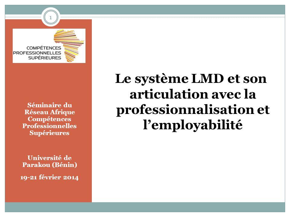 Séminaire du Réseau Afrique Compétences Professionnelles Supérieures Université de Parakou (Bénin) 19-21 février 2014 Le système LMD et son articulation avec la professionnalisation et lemployabilité 1