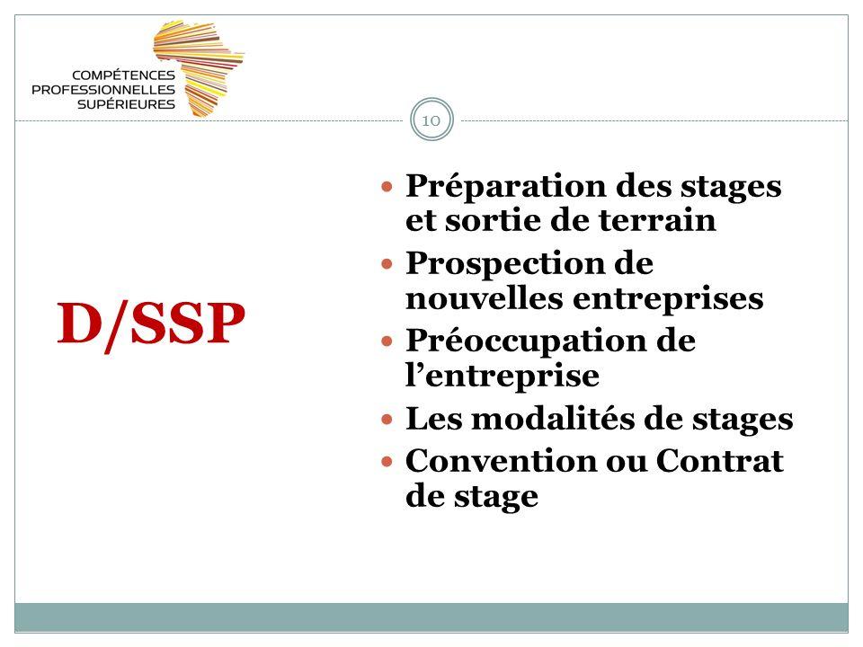 10 D/SSP Préparation des stages et sortie de terrain Prospection de nouvelles entreprises Préoccupation de lentreprise Les modalités de stages Convention ou Contrat de stage