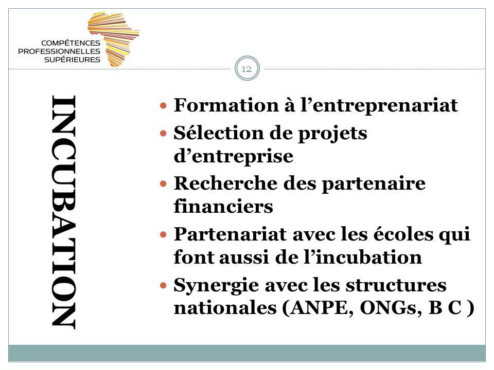 12 INCUBATION Formation à lentreprenariat Sélection de projets dentreprise Recherche des partenaire financiers Partenariat avec les écoles qui font aussi de lincubation Synergie avec les structures nationales (ANPE, ONGs, B C )