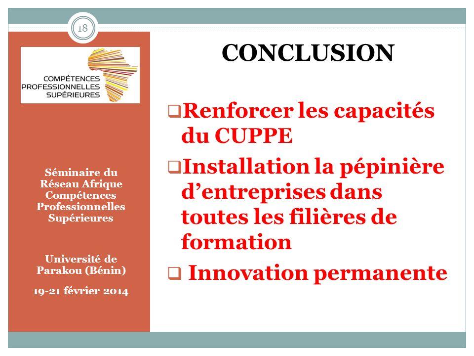 Séminaire du Réseau Afrique Compétences Professionnelles Supérieures Université de Parakou (Bénin) 19-21 février 2014 CONCLUSION Renforcer les capacit