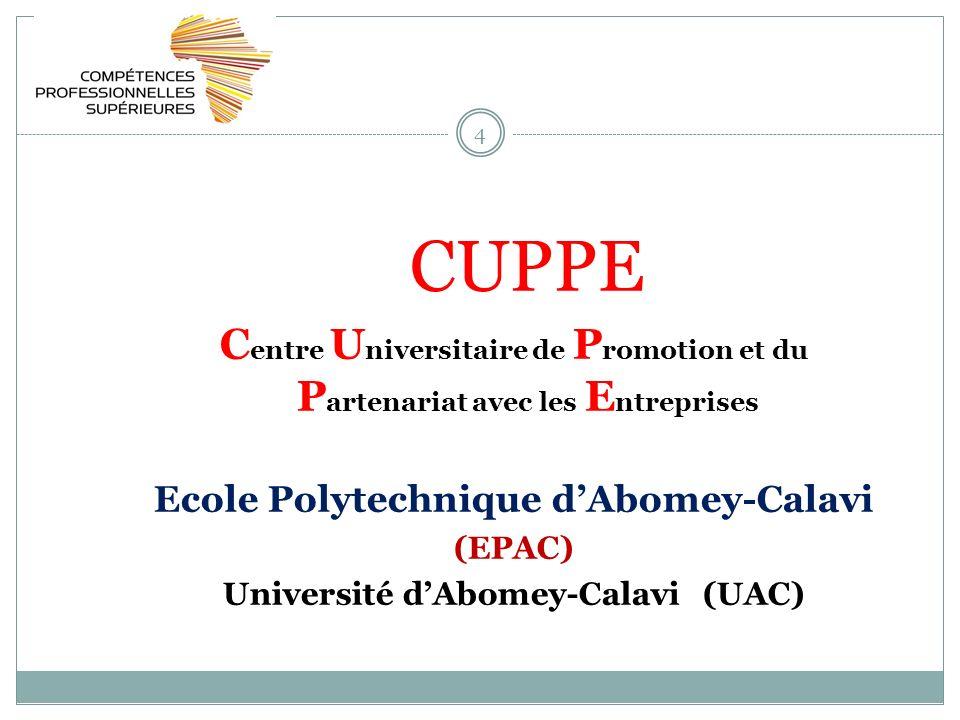 4 CUPPE C entre U niversitaire de P romotion et du P artenariat avec les E ntreprises Ecole Polytechnique dAbomey-Calavi (EPAC) Université dAbomey-Cal