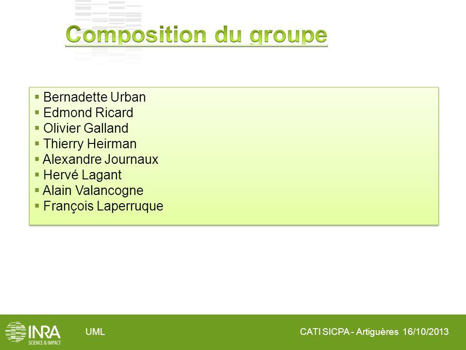 CATI SICPA - Artiguères 16/10/2013UML Bernadette Urban Edmond Ricard Olivier Galland Thierry Heirman Alexandre Journaux Hervé Lagant Alain Valancogne