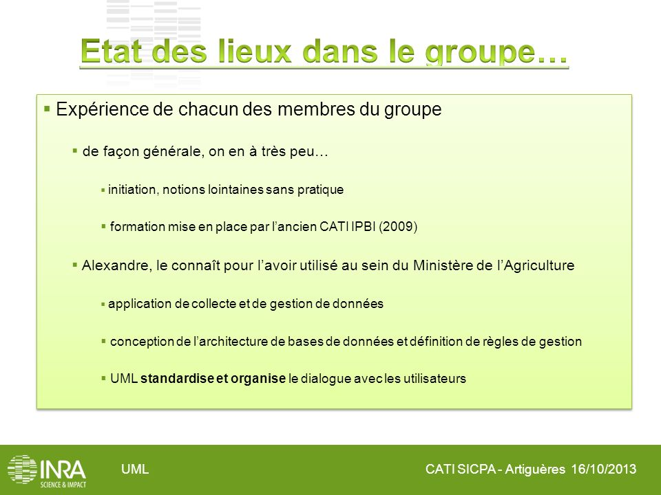 CATI SICPA - Artiguères 16/10/2013UML Expérience de chacun des membres du groupe de façon générale, on en à très peu… initiation, notions lointaines s