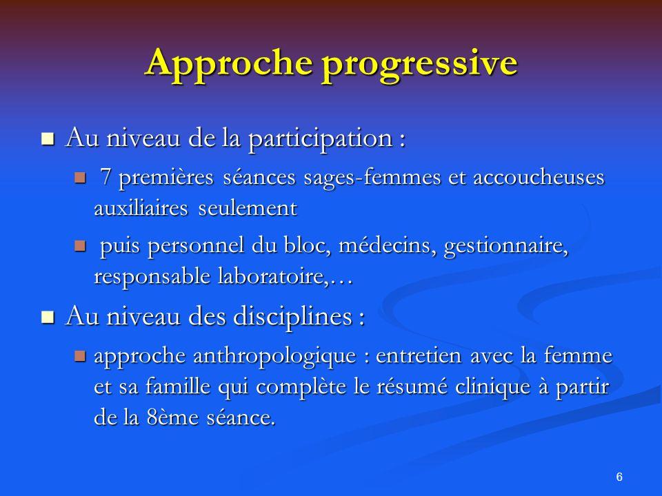 6 Approche progressive Au niveau de la participation : Au niveau de la participation : 7 premières séances sages-femmes et accoucheuses auxiliaires se