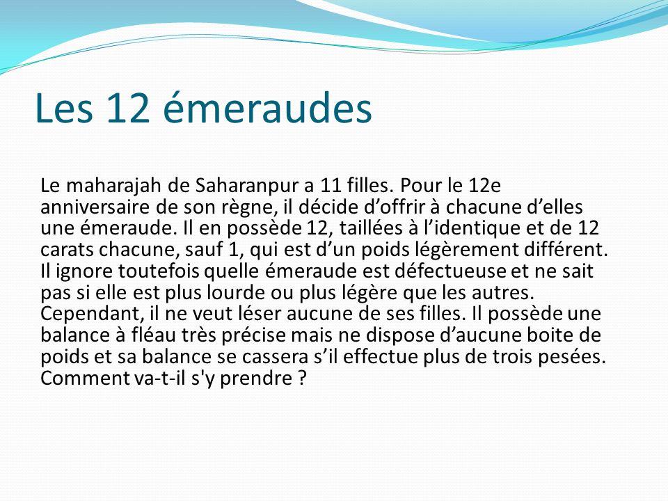Les 12 émeraudes Le maharajah de Saharanpur a 11 filles. Pour le 12e anniversaire de son règne, il décide doffrir à chacune delles une émeraude. Il en