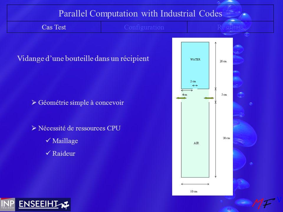 Parallel Computation with Industrial Codes Cas TestConfigurationRésultats Vidange dune bouteille dans un récipient Géométrie simple à concevoir Nécessité de ressources CPU Maillage Raideur