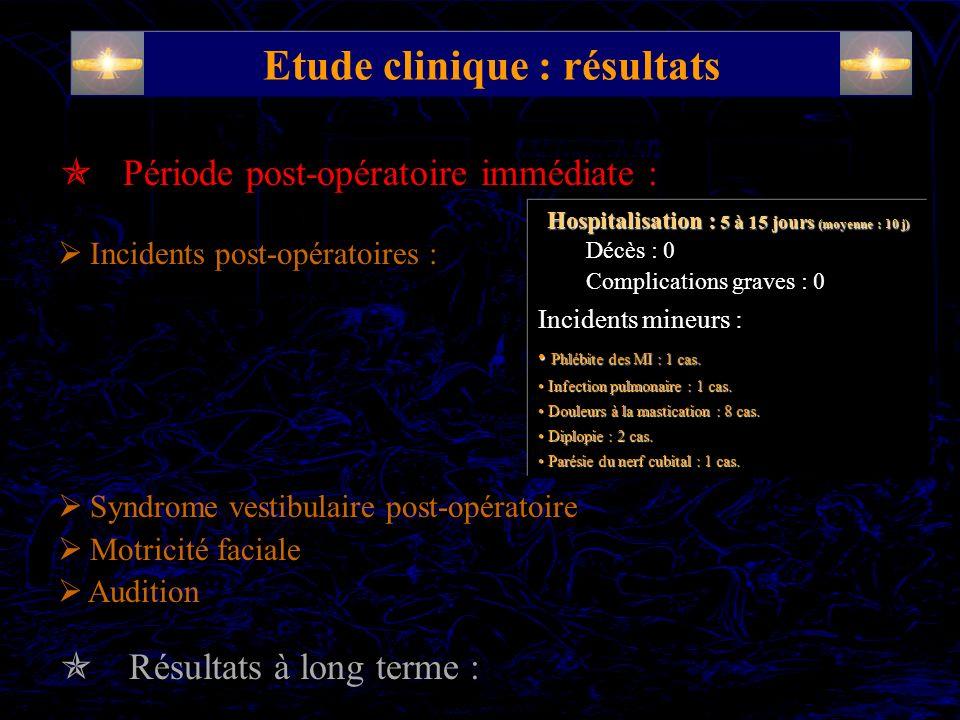 Syndrome vestibulaire destructif périphérique : Rééducation précoce : opto-cinétique / lever précoce Motricité faciale : parésie ou paralysie secondaire (j 3 – j 8) 19 cas (24%) récupération complète (95%) ~ 3 mois Audition :