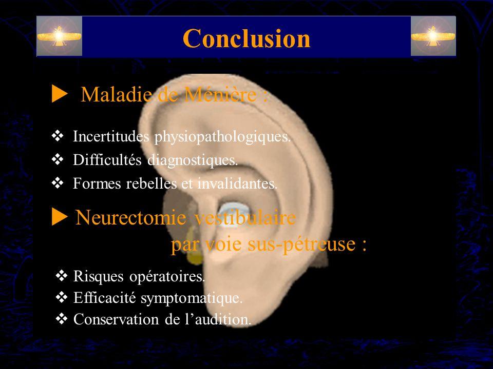 Conclusion Incertitudes physiopathologiques. Difficultés diagnostiques. Formes rebelles et invalidantes. Maladie de Ménière : Neurectomie vestibulaire