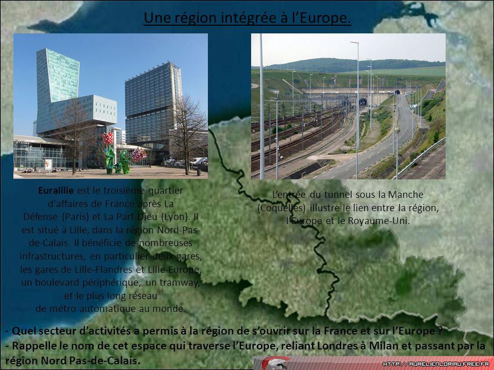 Une région intégrée à lEurope. Euralille est le troisième quartier d'affaires de France après La Défense (Paris) et La Part-Dieu (Lyon). Il est situé