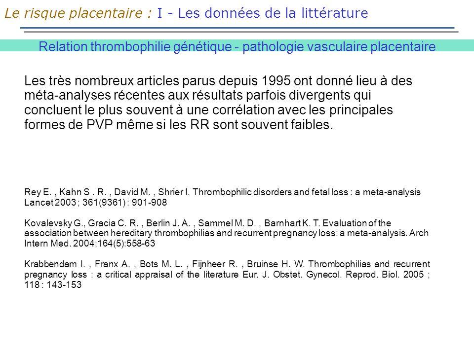 Relation thrombophilie génétique - pathologie vasculaire placentaire Le risque placentaire : I - Les données de la littérature Les très nombreux articles parus depuis 1995 ont donné lieu à des méta-analyses récentes aux résultats parfois divergents qui concluent le plus souvent à une corrélation avec les principales formes de PVP même si les RR sont souvent faibles.