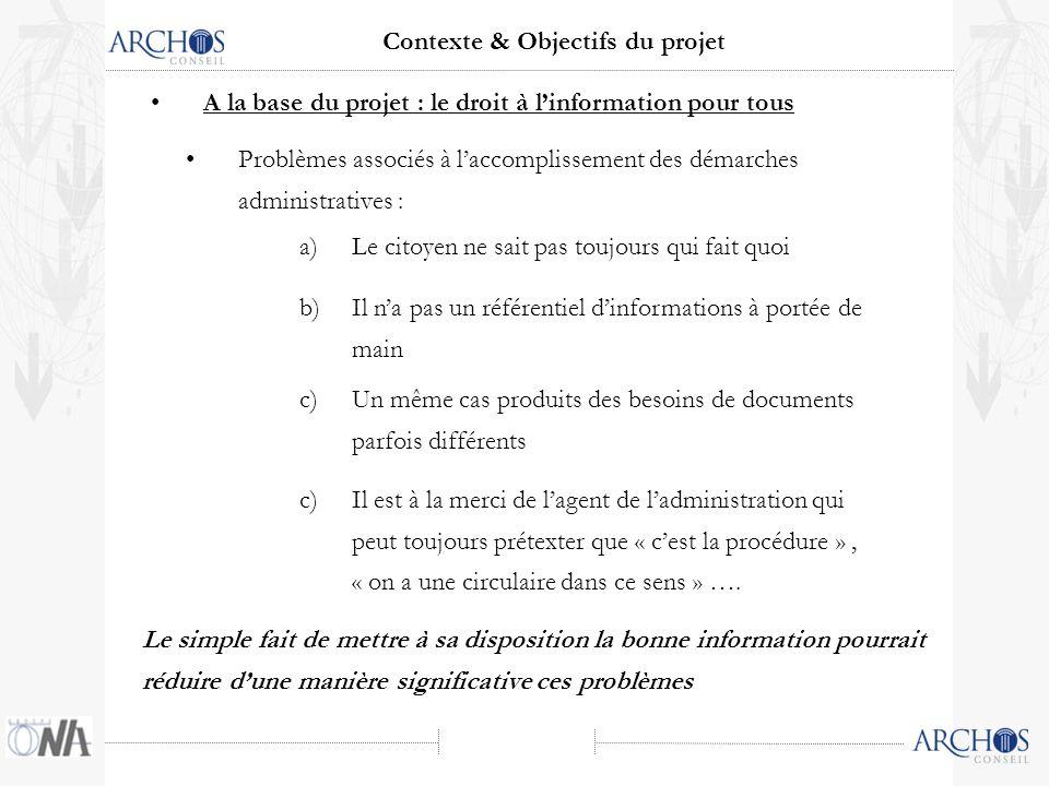 Problèmes associés à laccomplissement des démarches administratives : a)Le citoyen ne sait pas toujours qui fait quoi Contexte & Objectifs du projet A la base du projet : le droit à linformation pour tous b)Il na pas un référentiel dinformations à portée de main c)Un même cas produits des besoins de documents parfois différents c)Il est à la merci de lagent de ladministration qui peut toujours prétexter que « cest la procédure », « on a une circulaire dans ce sens » ….