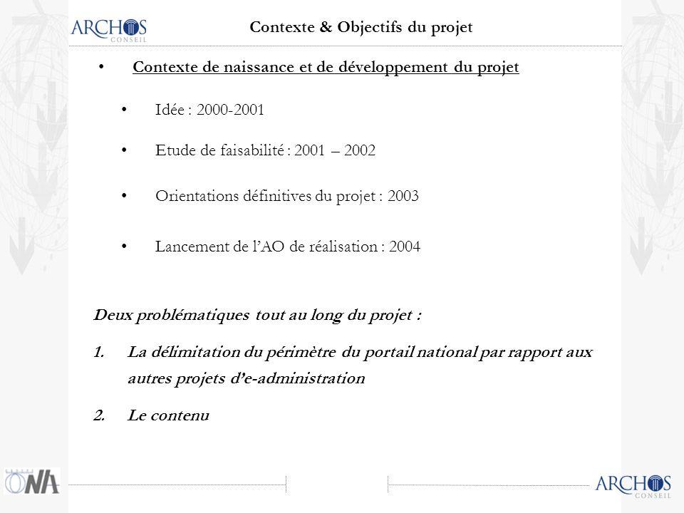 Idée : 2000-2001 Contexte & Objectifs du projet Etude de faisabilité : 2001 – 2002 Orientations définitives du projet : 2003 Deux problématiques tout
