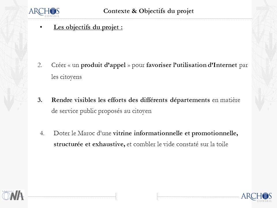 2.Créer « un produit dappel » pour favoriser lutilisation dInternet par les citoyens Les objectifs du projet : 4.Doter le Maroc dune vitrine informati