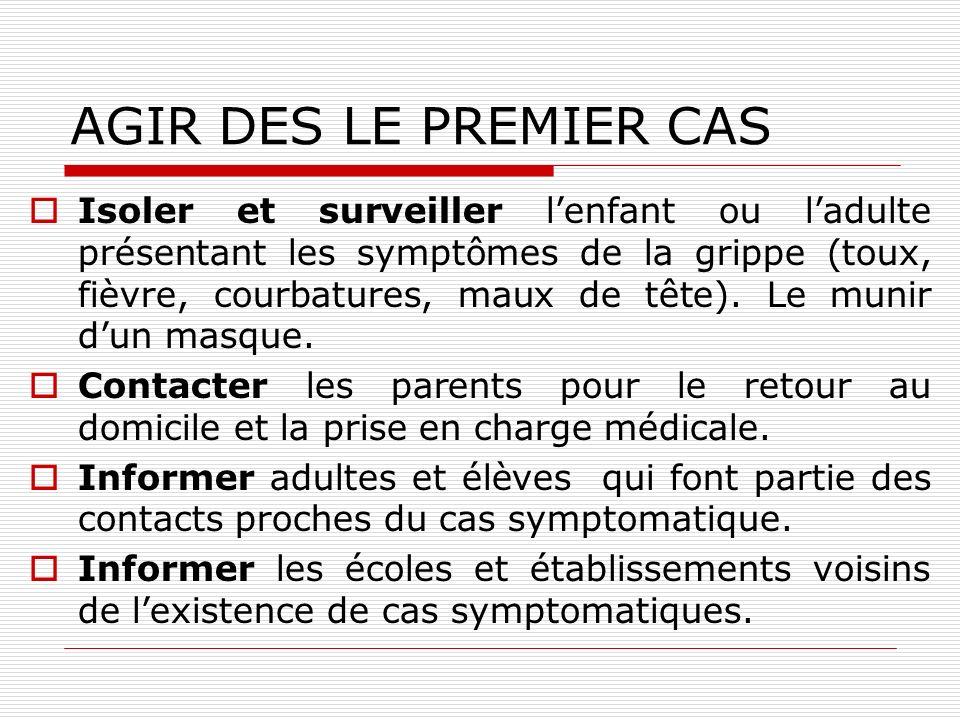 AGIR DES LE PREMIER CAS Isoler et surveiller lenfant ou ladulte présentant les symptômes de la grippe (toux, fièvre, courbatures, maux de tête). Le mu