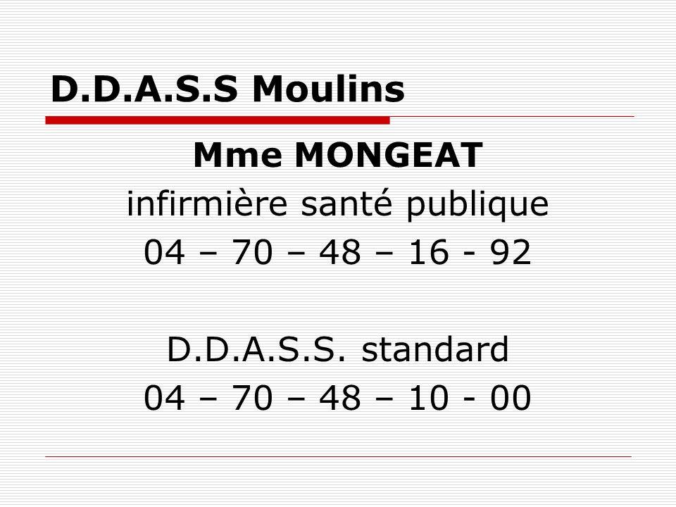 D.D.A.S.S Moulins Mme MONGEAT infirmière santé publique 04 – 70 – 48 – 16 - 92 D.D.A.S.S. standard 04 – 70 – 48 – 10 - 00