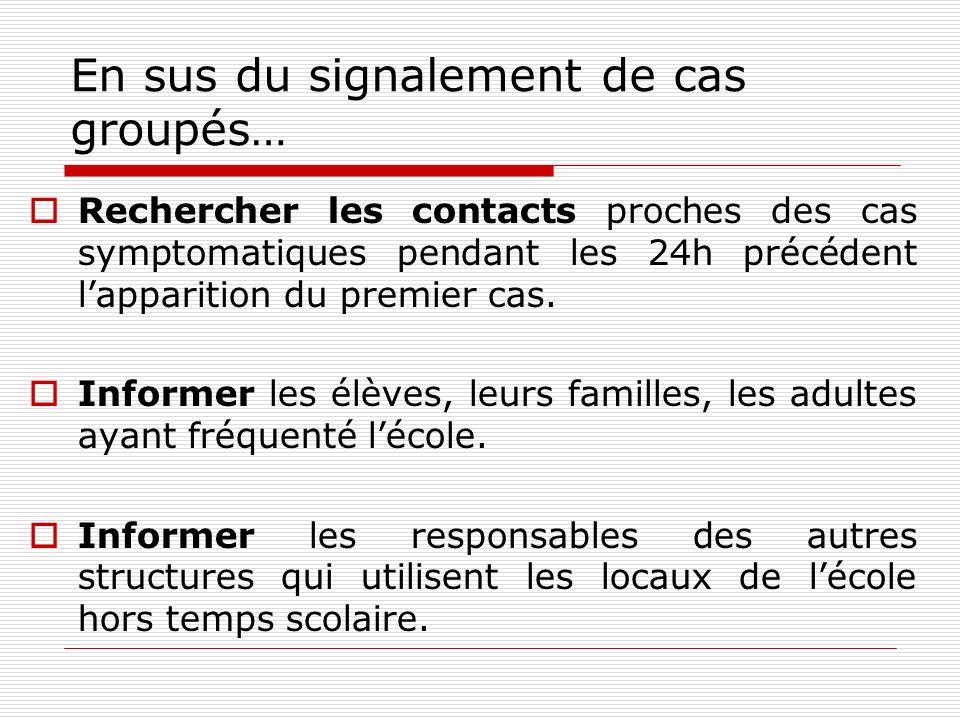 En sus du signalement de cas groupés… Rechercher les contacts proches des cas symptomatiques pendant les 24h précédent lapparition du premier cas. Inf