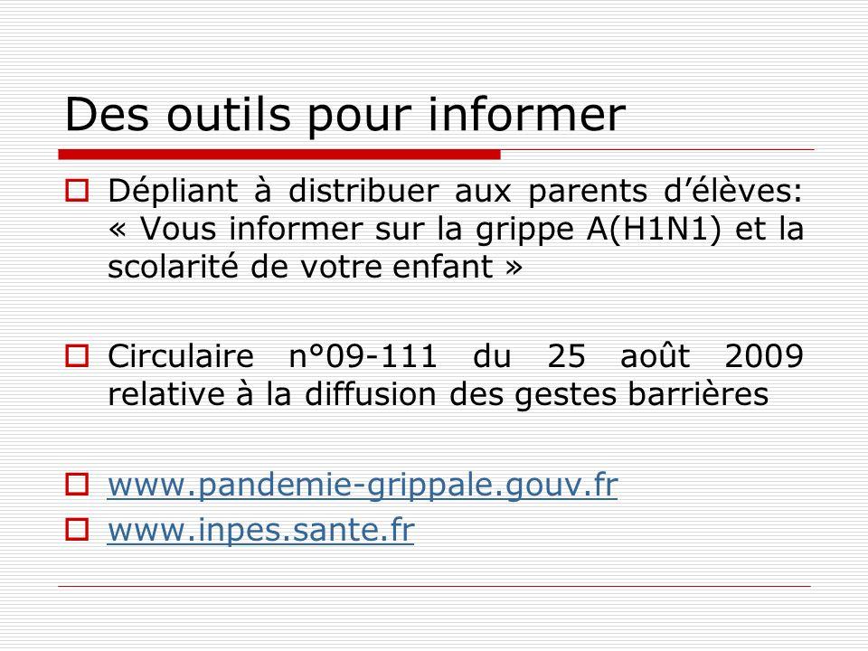 Des outils pour informer Dépliant à distribuer aux parents délèves: « Vous informer sur la grippe A(H1N1) et la scolarité de votre enfant » Circulaire