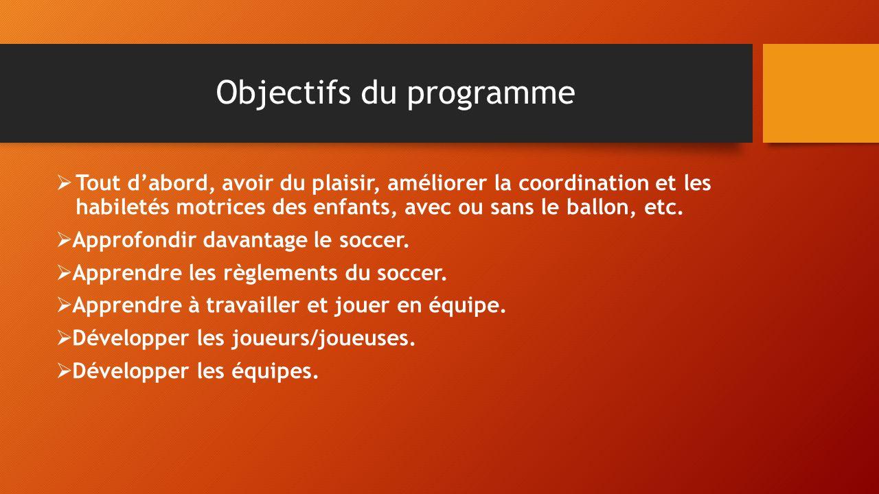 Objectifs du programme Tout dabord, avoir du plaisir, améliorer la coordination et les habiletés motrices des enfants, avec ou sans le ballon, etc.