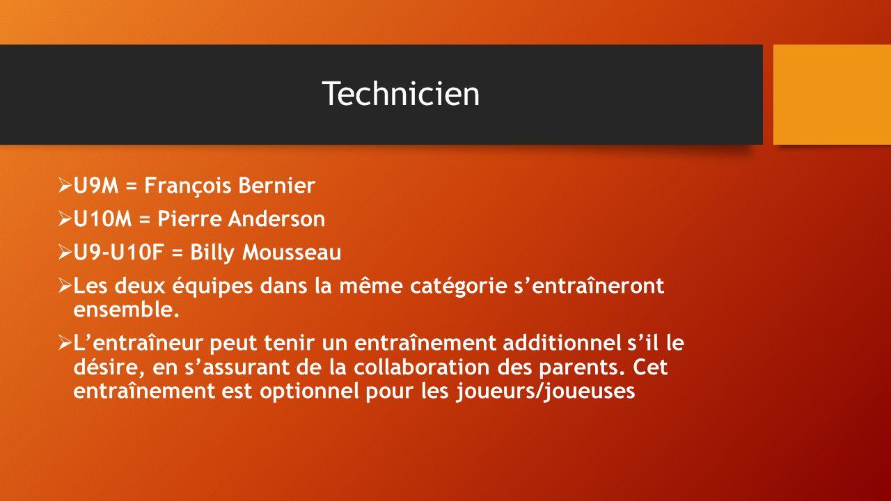 Technicien U9M = François Bernier U10M = Pierre Anderson U9-U10F = Billy Mousseau Les deux équipes dans la même catégorie sentraîneront ensemble. Lent