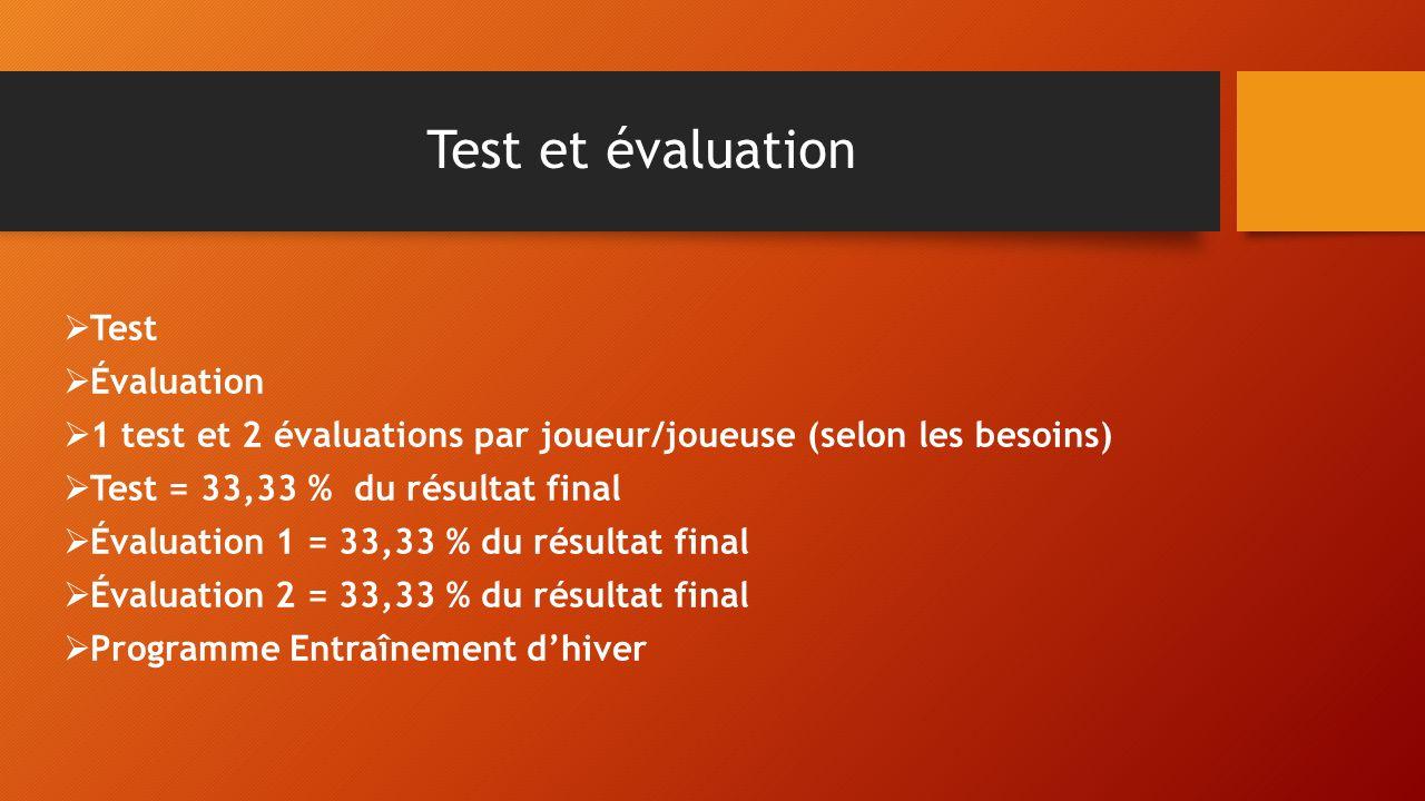 Test et évaluation Test Évaluation 1 test et 2 évaluations par joueur/joueuse (selon les besoins) Test = 33,33 % du résultat final Évaluation 1 = 33,3