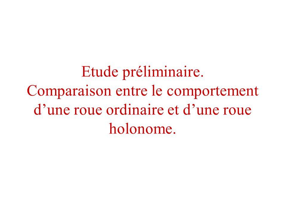 Etude préliminaire. Comparaison entre le comportement dune roue ordinaire et dune roue holonome.