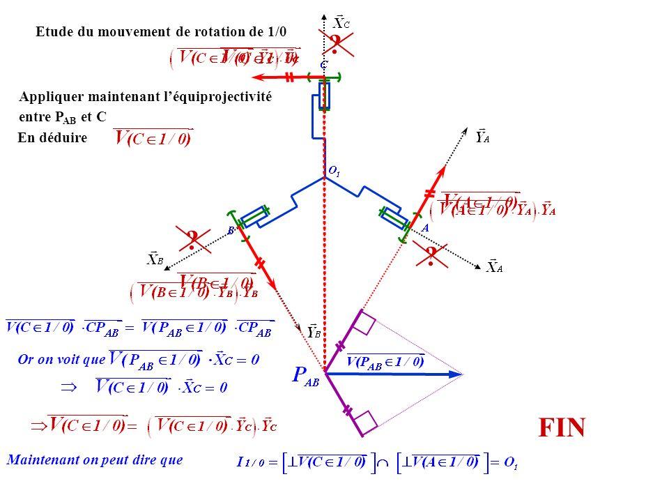 Etude du mouvement de rotation de 1/0 .