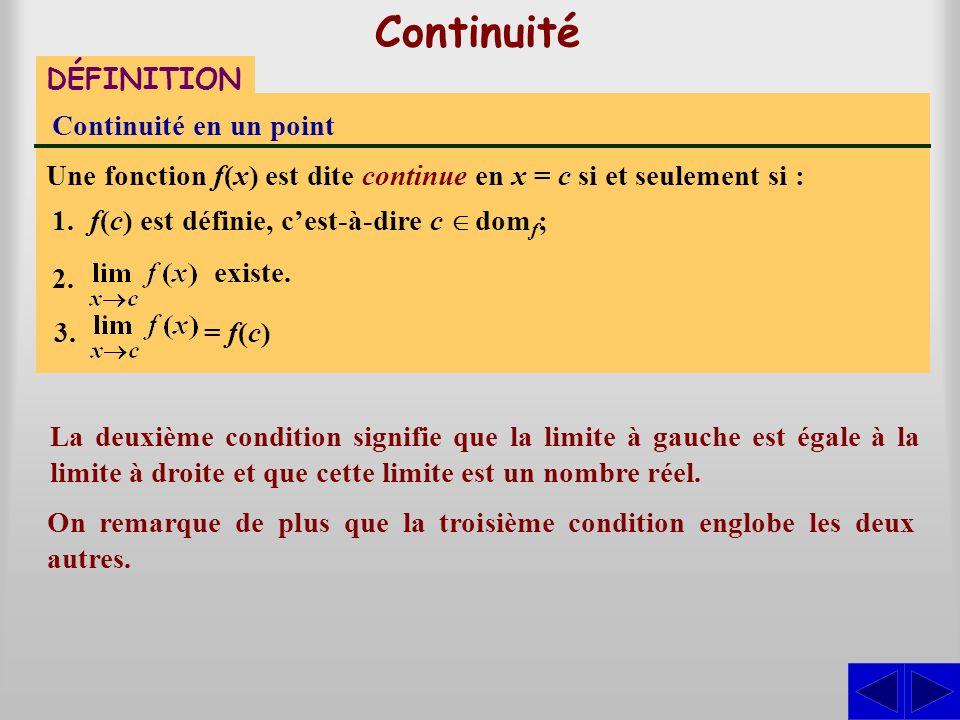 Continuité DÉFINITION Continuité en un point Une fonction f(x) est dite continue en x = c si et seulement si : existe. La deuxième condition signifie