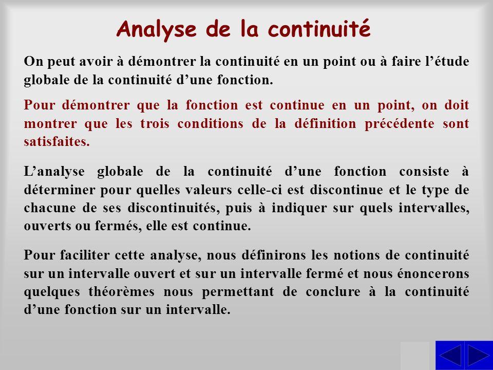 Analyse de la continuité On peut avoir à démontrer la continuité en un point ou à faire létude globale de la continuité dune fonction. Pour démontrer