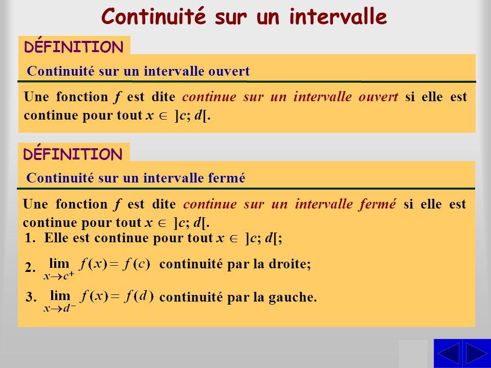 Continuité sur un intervalle DÉFINITION Continuité sur un intervalle ouvert Une fonction f est dite continue sur un intervalle ouvert si elle est cont