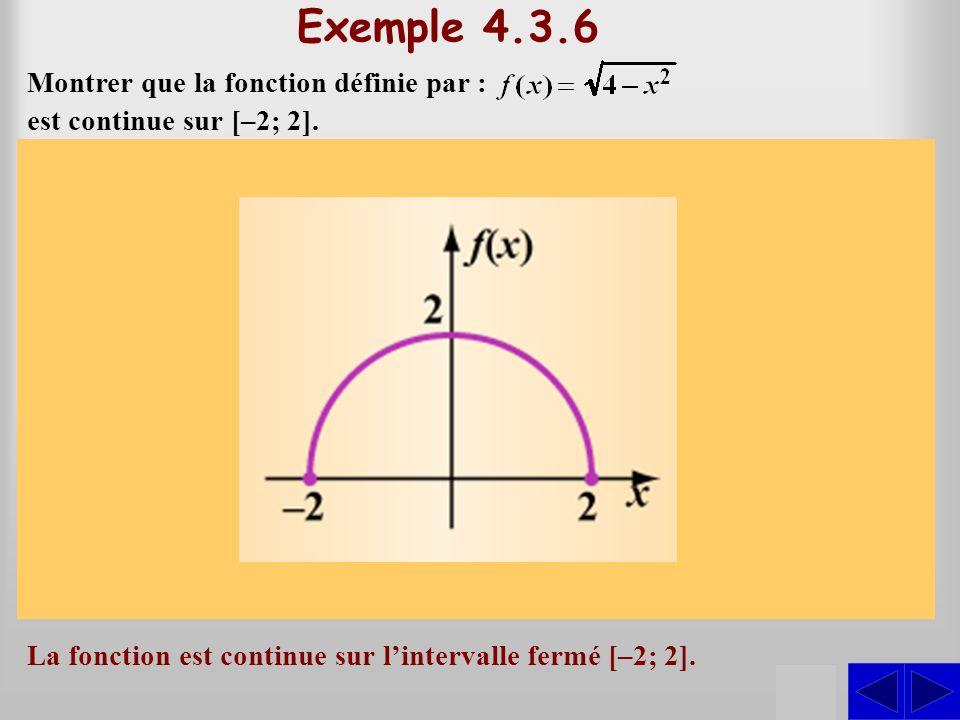 SS Exemple 4.3.6 Montrer que la fonction définie par : Solution La fonction est donc continue dans lintervalle ouvert ]–2; 2[. Le domaine de f est lin