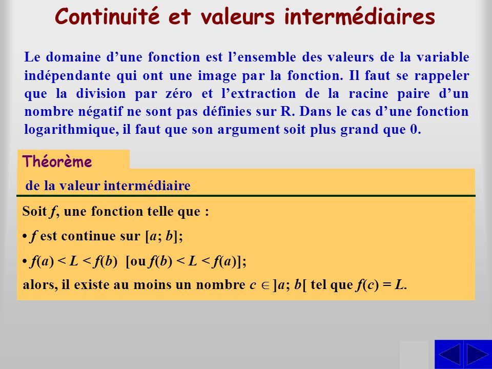 Continuité et valeurs intermédiaires Théorème de la valeur intermédiaire Soit f, une fonction telle que : S f est continue sur [a; b]; f(a) < L < f(b)
