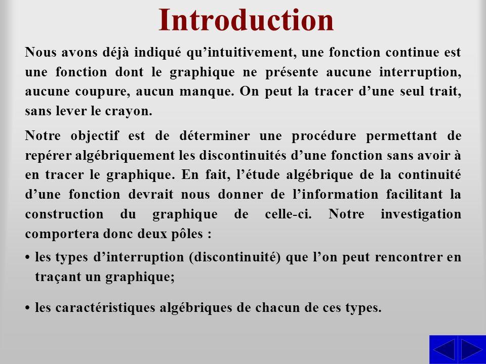 Introduction Nous avons déjà indiqué quintuitivement, une fonction continue est une fonction dont le graphique ne présente aucune interruption, aucune
