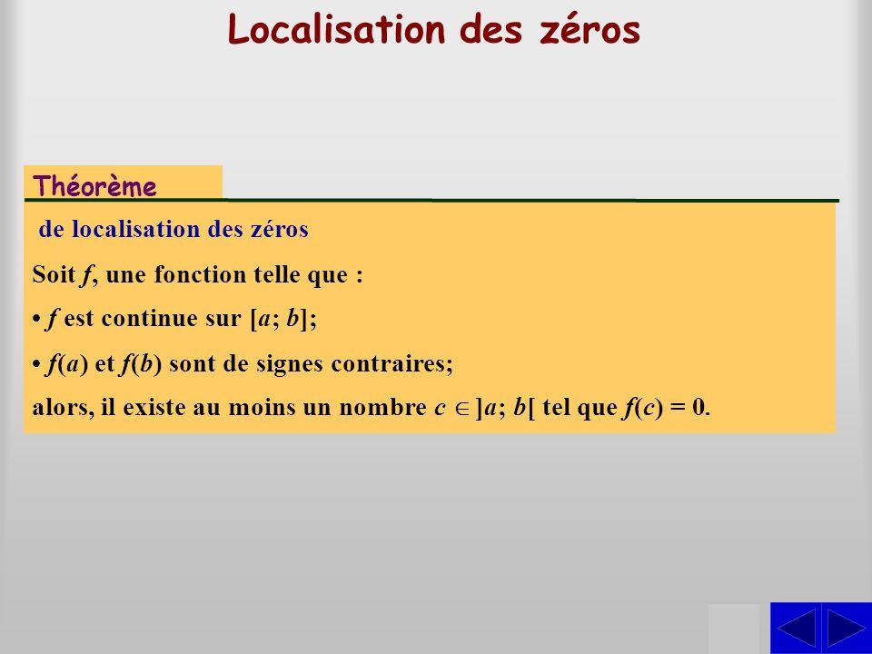 Localisation des zéros Théorème de localisation des zéros Soit f, une fonction telle que : S f est continue sur [a; b]; f(a) et f(b) sont de signes co