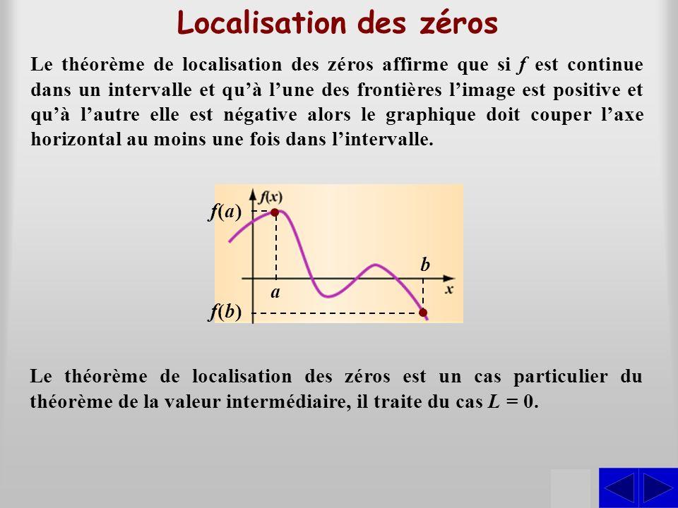 Localisation des zéros S Le théorème de localisation des zéros affirme que si f est continue dans un intervalle et quà lune des frontières limage est