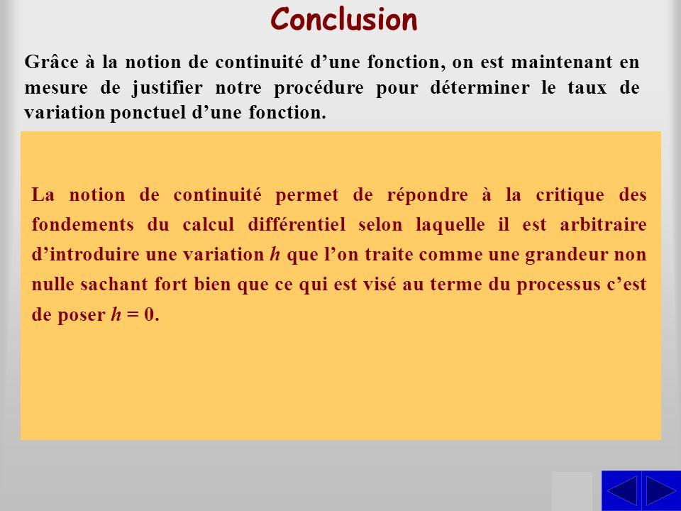 Conclusion Grâce à la notion de continuité dune fonction, on est maintenant en mesure de justifier notre procédure pour déterminer le taux de variatio