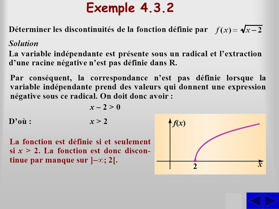 SS Exemple 4.3.2 Déterminer les discontinuités de la fonction définie par Solution Par conséquent, la correspondance nest pas définie lorsque la varia