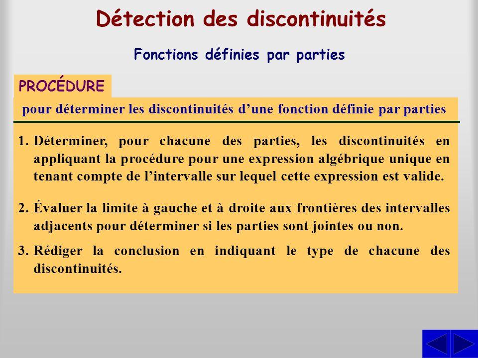 Détection des discontinuités Fonctions définies par parties PROCÉDURE pour déterminer les discontinuités dune fonction définie par parties 1.Détermine