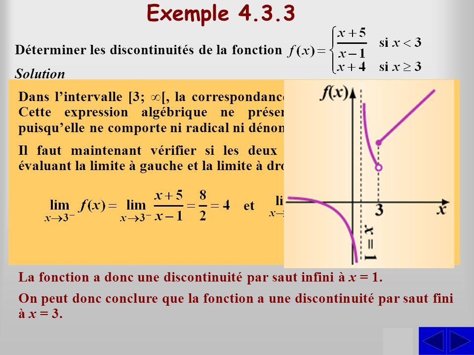 SS Exemple 4.3.3 Déterminer les discontinuités de la fonction Solution Le dénominateur de cette expression sannule à x = 1 et cette valeur est dans ]–