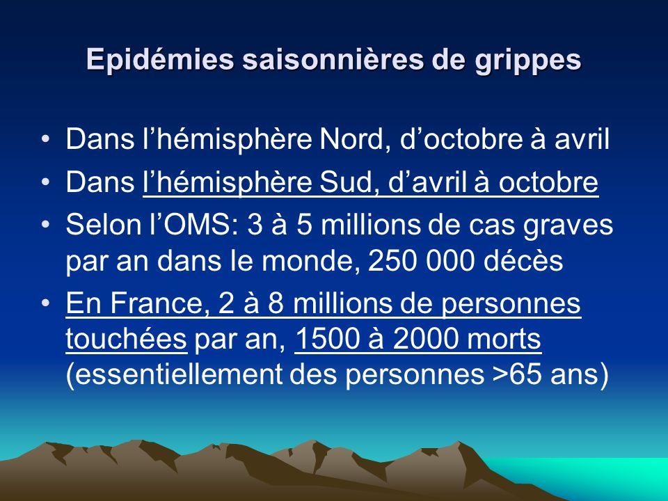 Epidémies saisonnières de grippes Dans lhémisphère Nord, doctobre à avril Dans lhémisphère Sud, davril à octobre Selon lOMS: 3 à 5 millions de cas graves par an dans le monde, 250 000 décès En France, 2 à 8 millions de personnes touchées par an, 1500 à 2000 morts (essentiellement des personnes >65 ans)